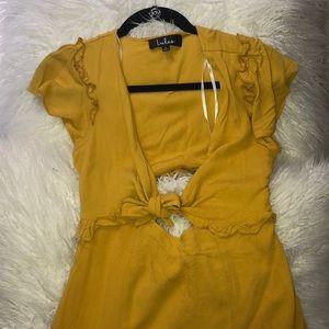 SEAPORT MUSTARD YELLOW TIE-FRONT DRESS